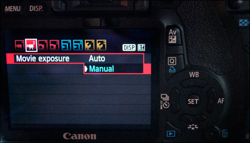 DSLR Video - Manual/Auto Menu